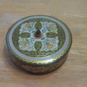 Vintage floral collectible tin box with lid